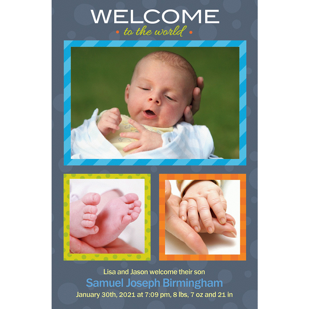 Custom Welcome to the World Boy Photo Announcement Image #1