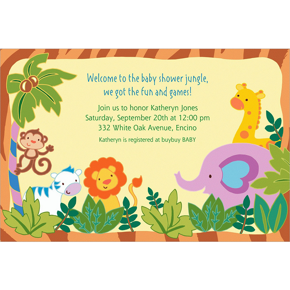 Custom Jungle Baby Shower Invitations Image #1
