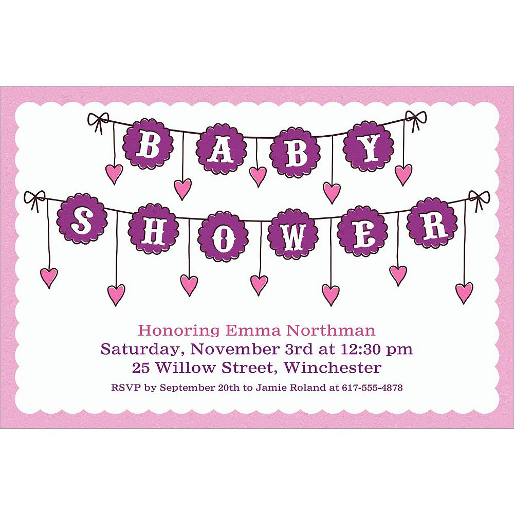 Custom Baby Clothesline Girl Invitations Image #1