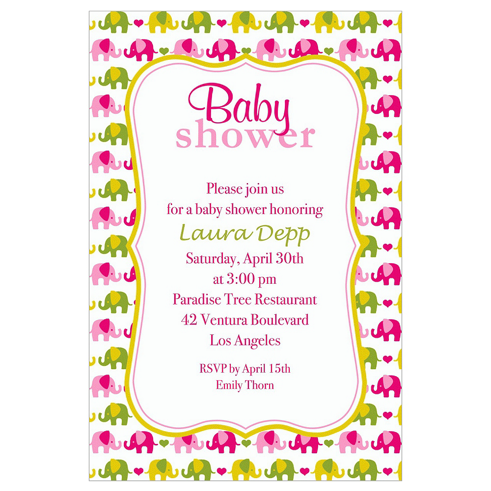 Custom Baby Elephant Pattern Girl Invitations  Image #1