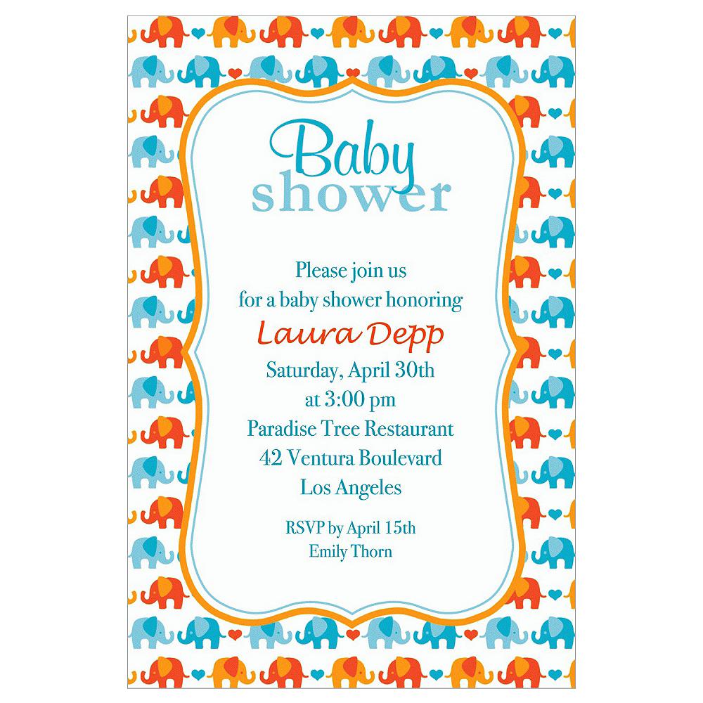 Custom Baby Elephant Pattern Boy Invitations Image #1