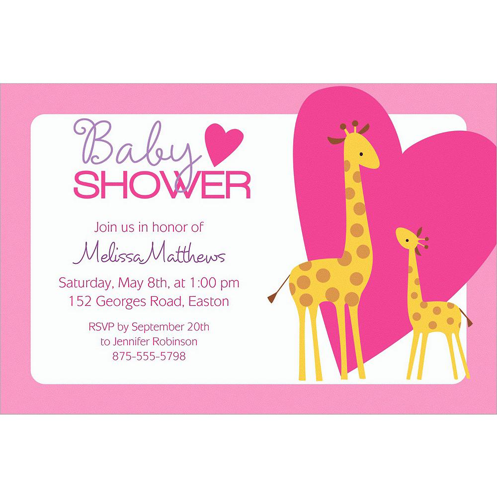 Custom Sweet Giraffes & Heart Girl Invitations Image #1
