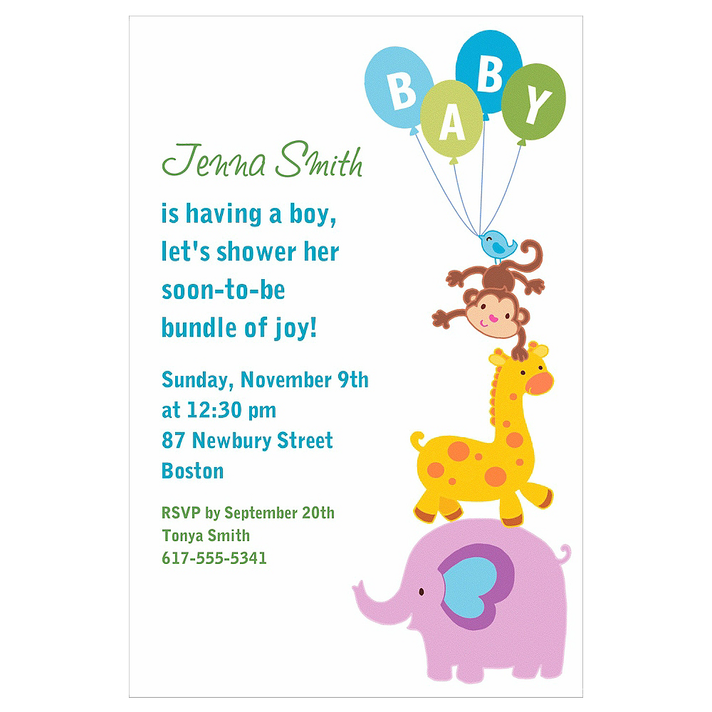 Custom Animals with Boy Balloons Invitations  Image #1