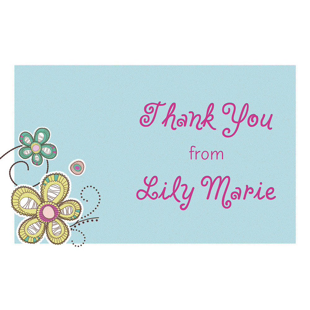 Custom Baby Block Floral Thank You Note Image #1