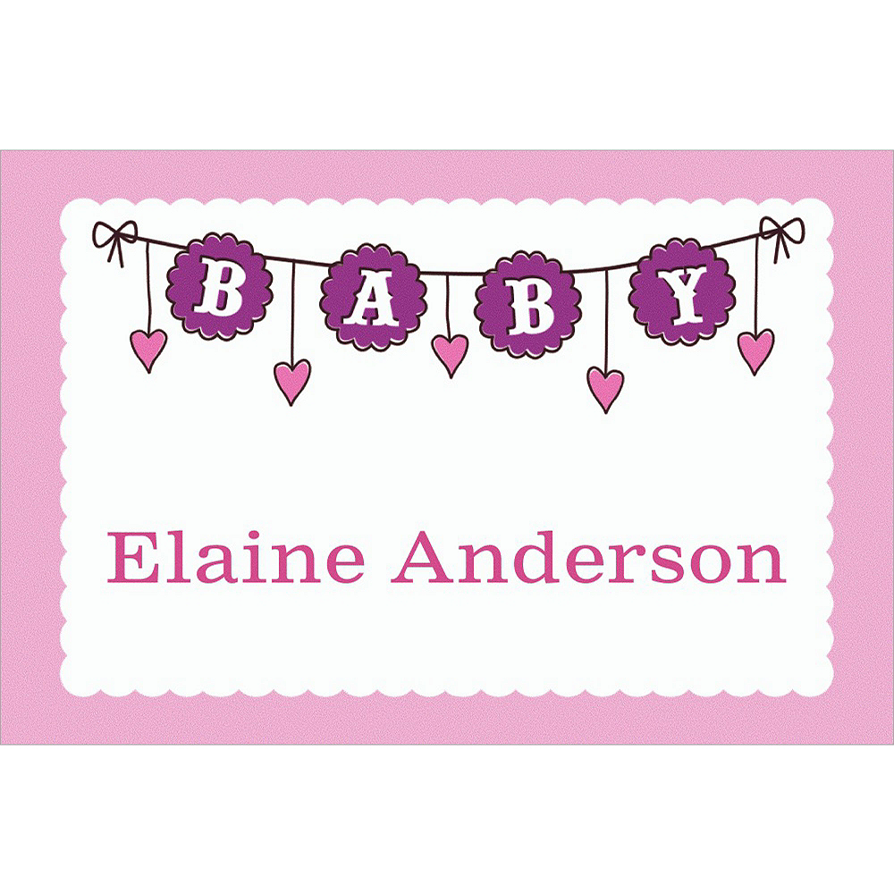 Custom Baby Clothesline Girl Thank You Notes Image #1