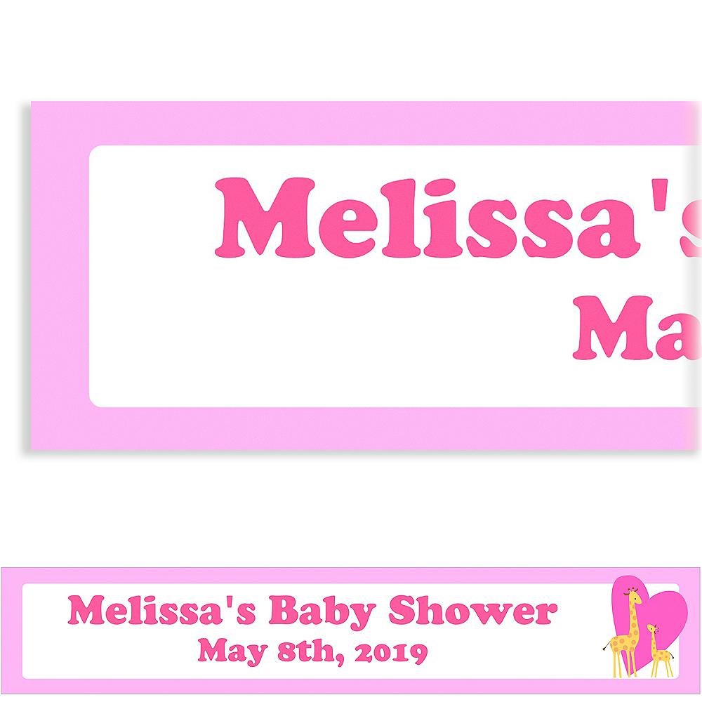 Custom Sweet Giraffes & Heart Girl Baby Shower Banner 6ft Image #1