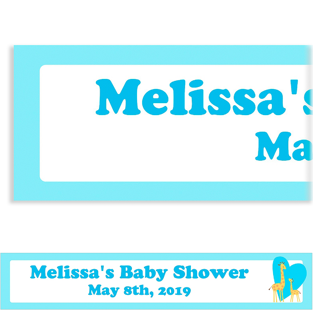 Custom Sweet Giraffes & Heart Boy Baby Shower Banner 6ft Image #1