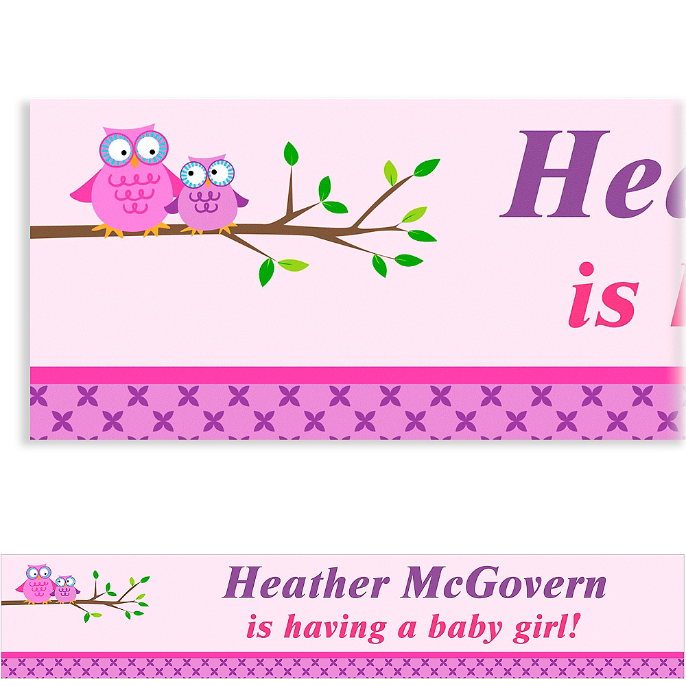 Custom Owls on a Branch Baby Shower Banner 6ft Image #1