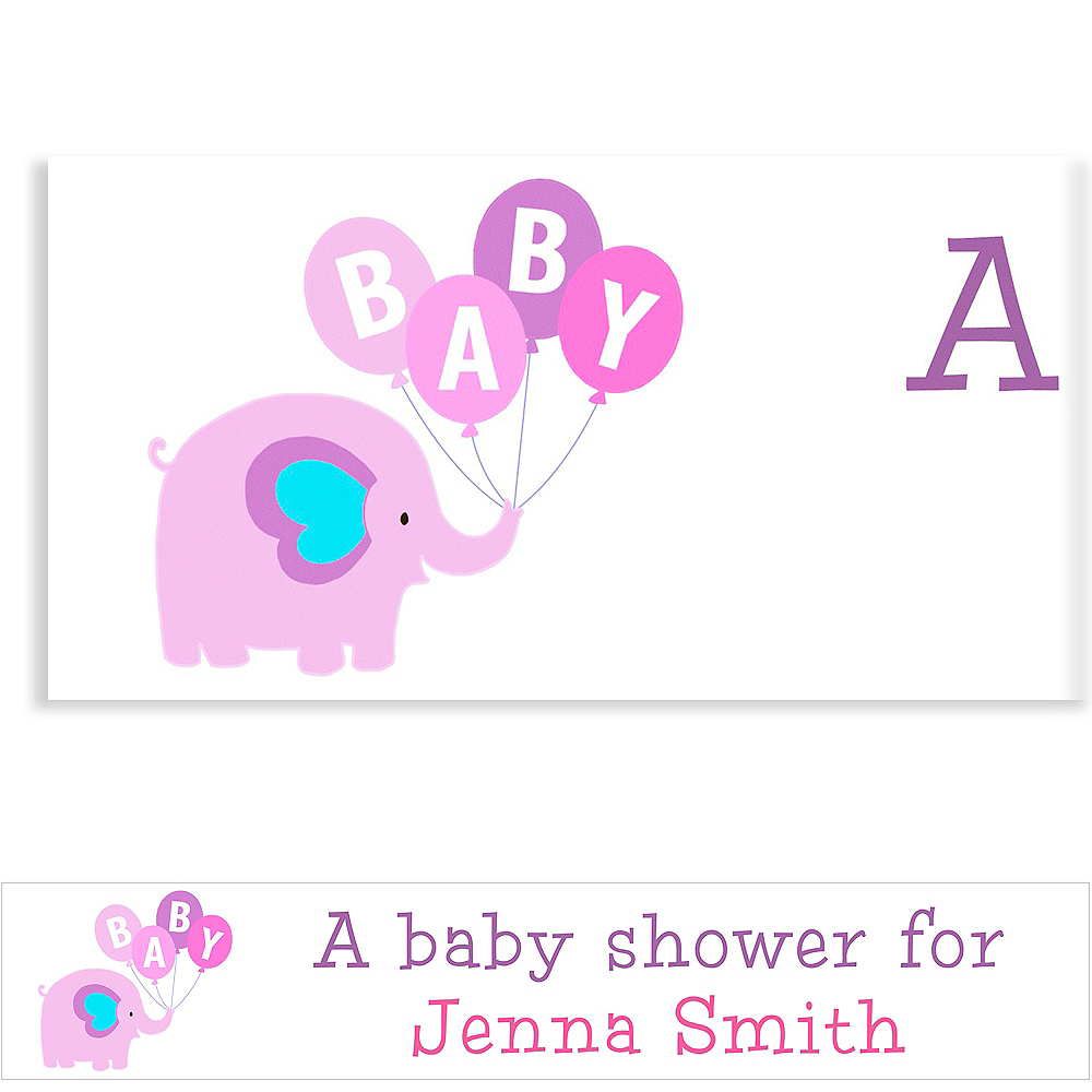 Custom Animals with Girl Balloons Baby Shower Banner 6ft Image #1