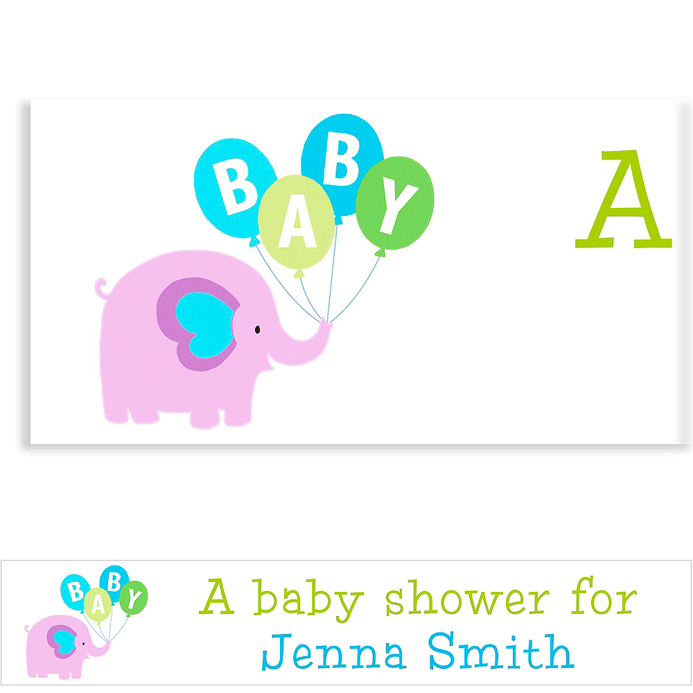 Custom Animals with Boy Balloons Baby Shower Banner 6ft Image #1