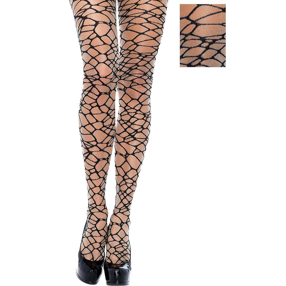 Adult Black Crackle Net Pantyhose Image #1