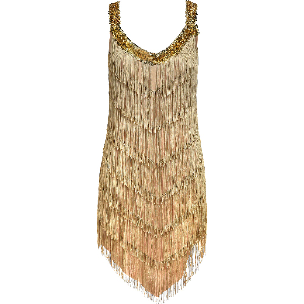 Roaring '20s Champagne Flapper Dress Image #3