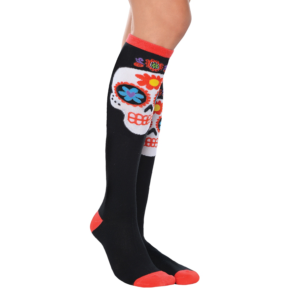 Sugar Skull Knee-High Socks - Day of the Dead Image #1