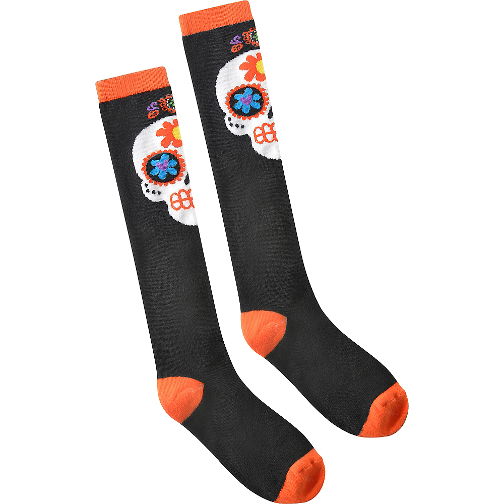 Sugar Skull Knee-High Socks - Day of the Dead Image #2