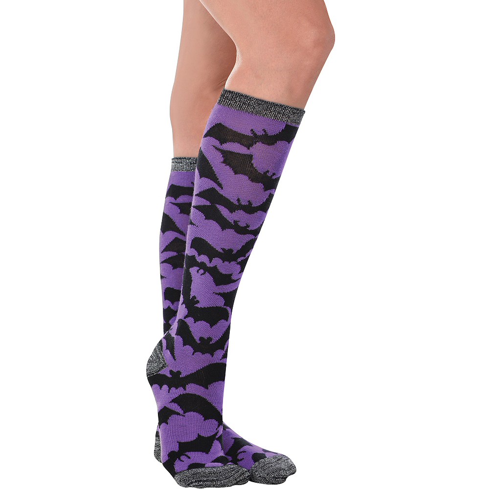 Purple Bat Knee-High Socks Image #1