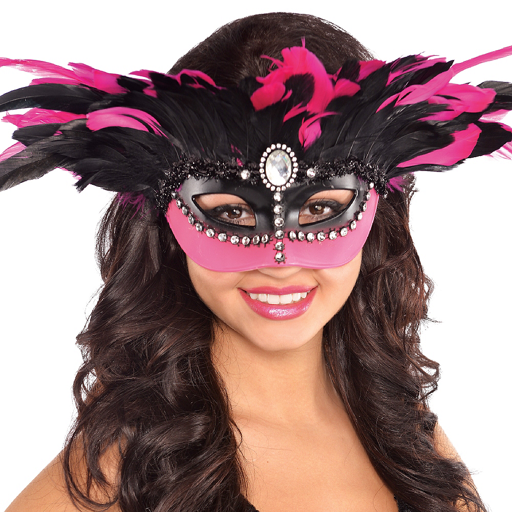 Pink & Black Gemstone Feather Masquerade Mask Image #2