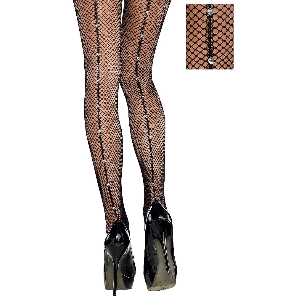 8c36c8d81ab Adult Black Fishnet Pantyhose with Rhinestone Seam Image  1