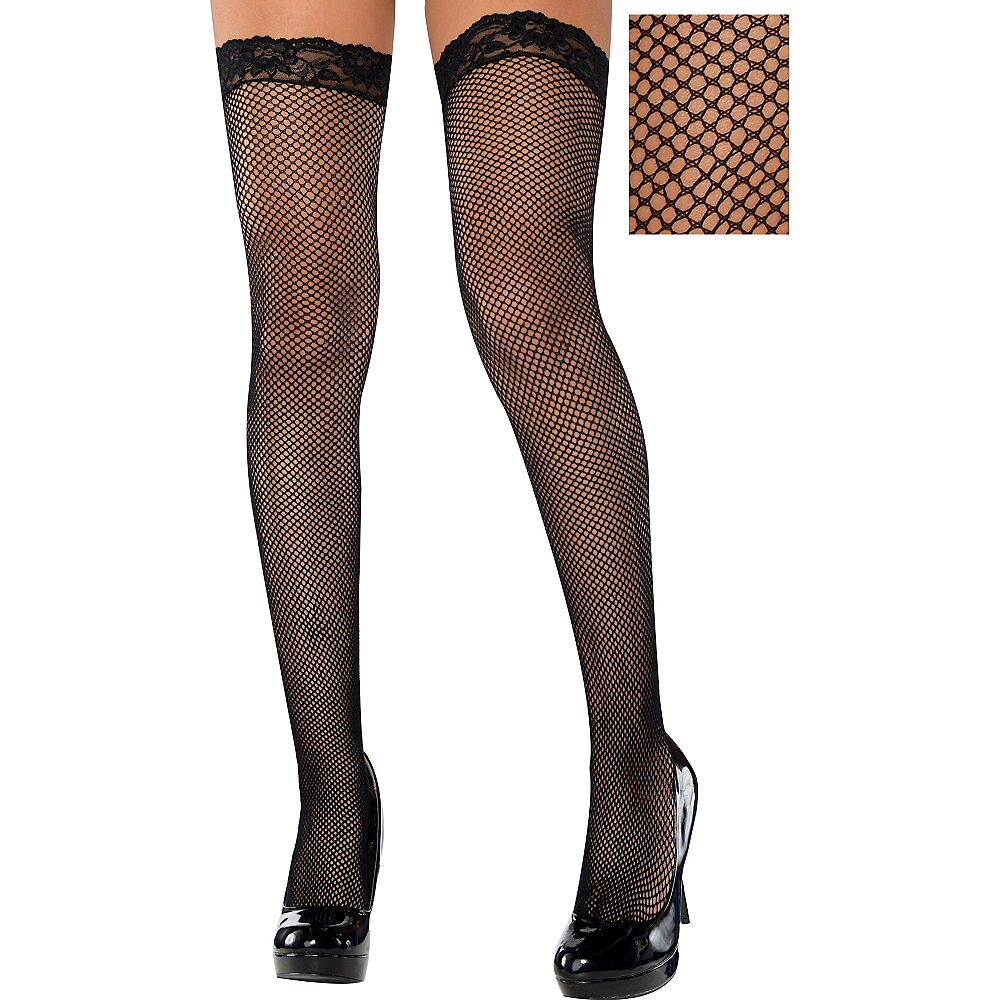 6cfc723d094 Adult Black Fishnet Thigh-High Stockings with Lace Top Image  1