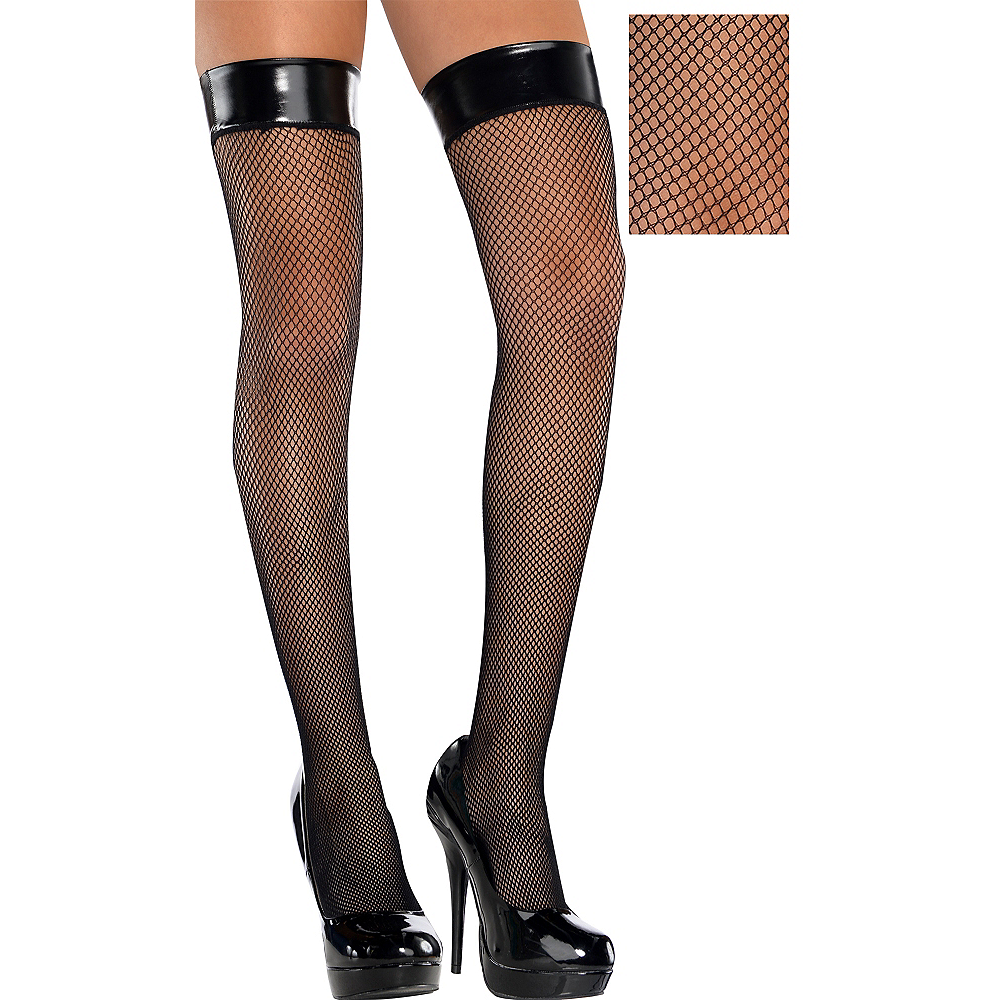 Adult Leather Top Fishnet Thigh-High Stockings Image #1