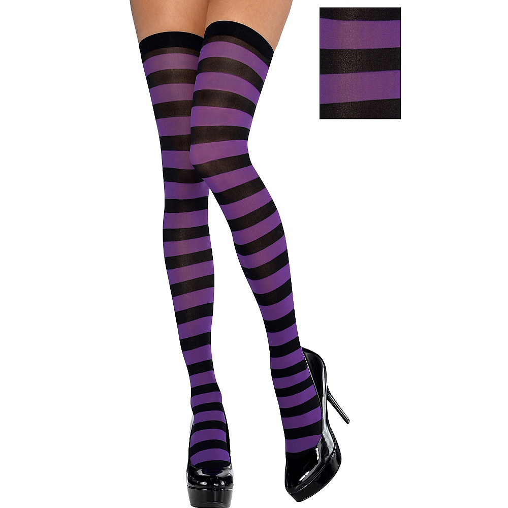 Adult Purple & Black Thigh-High Stockings Image #1