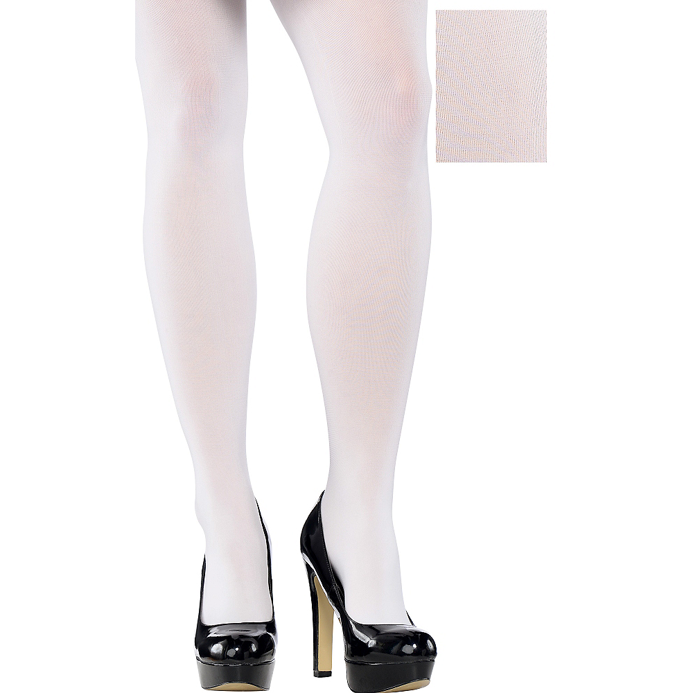 Nav Item for Adult White Tights Plus Size Image #1