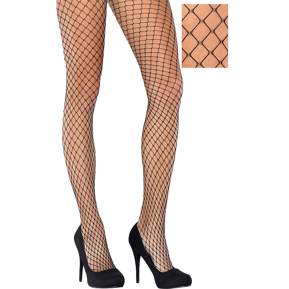 Adult Classic Wide Diamond Black Fishnet Pantyhose Image #1