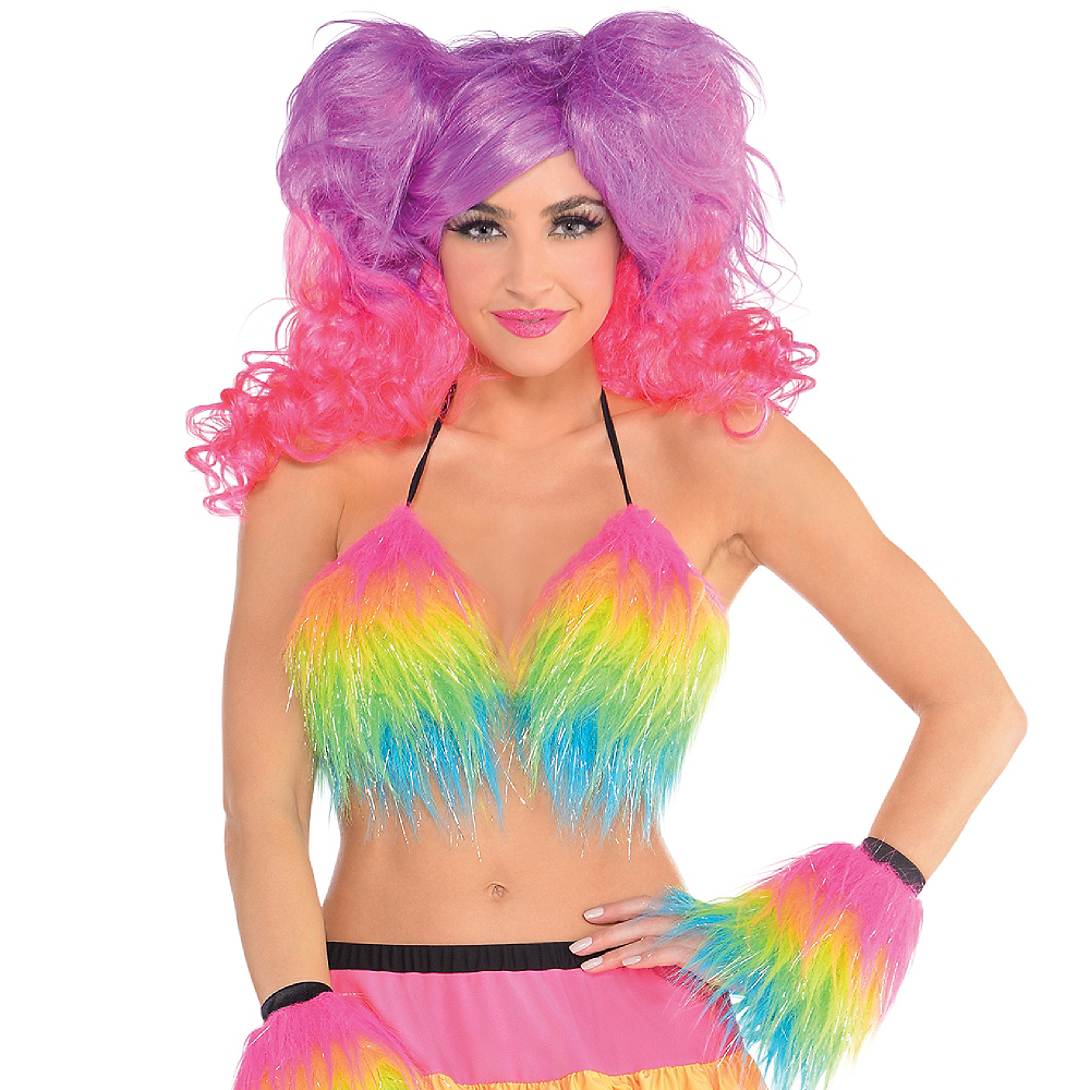 Electric Party Furry Bra Top Image #2