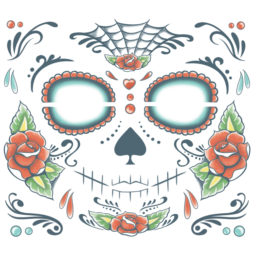 Sugar Skull Face Tattoo Kit Party City