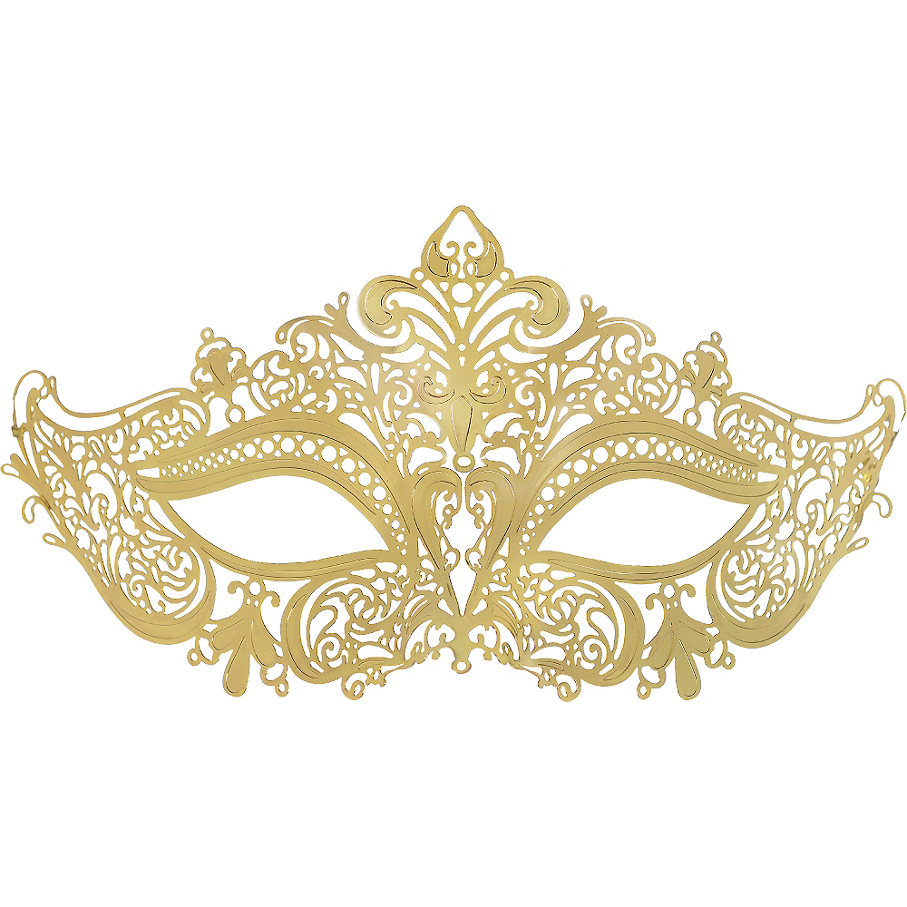 e2dbd1a89f55 Gold Filigree Masquerade Mask 7in x 4in | Party City