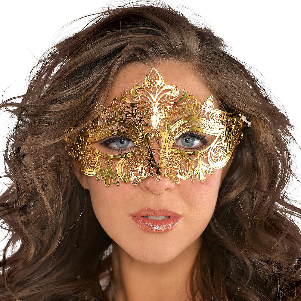 Gold Filigree Masquerade Mask Image #2