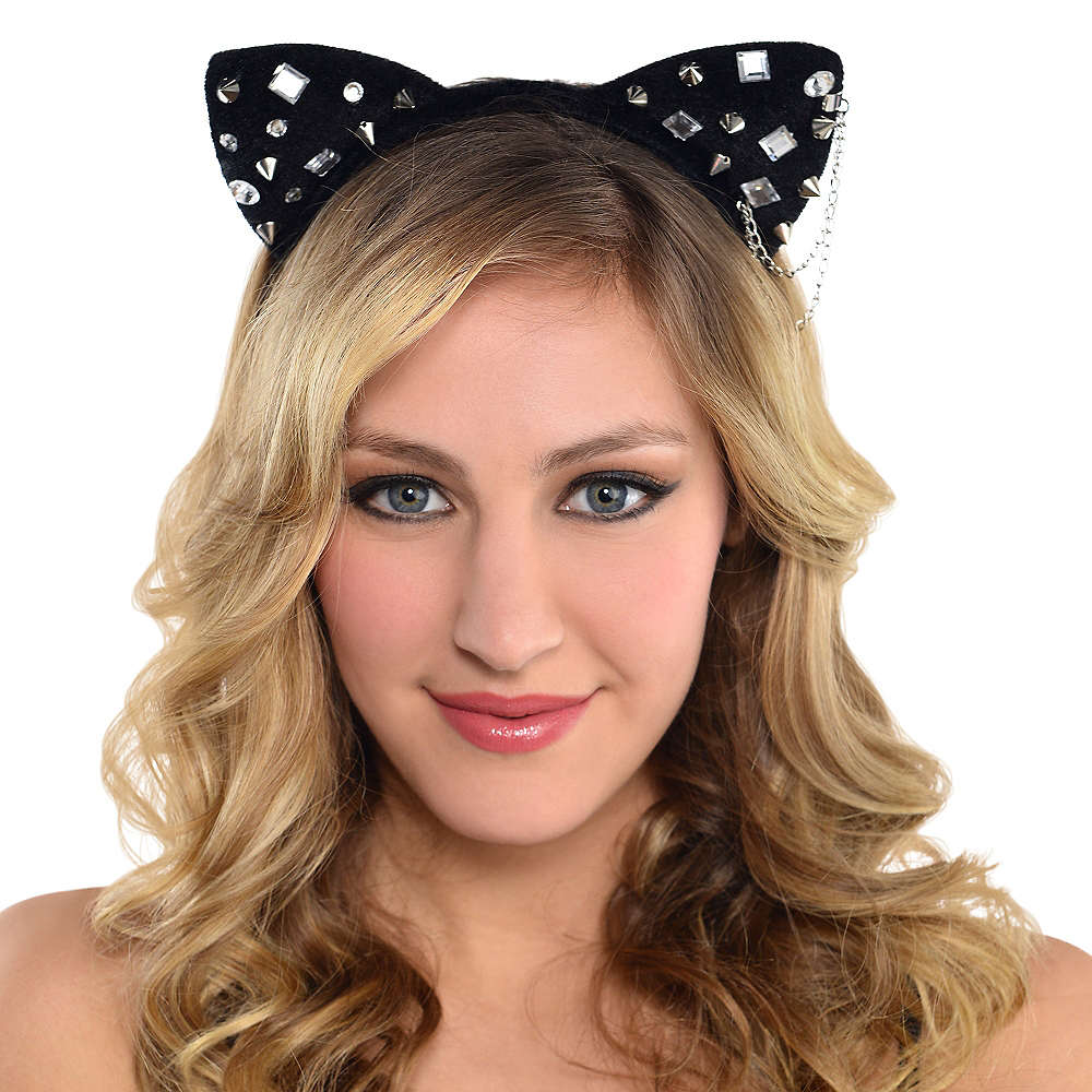 Studded Cat Ears Headband Image #2