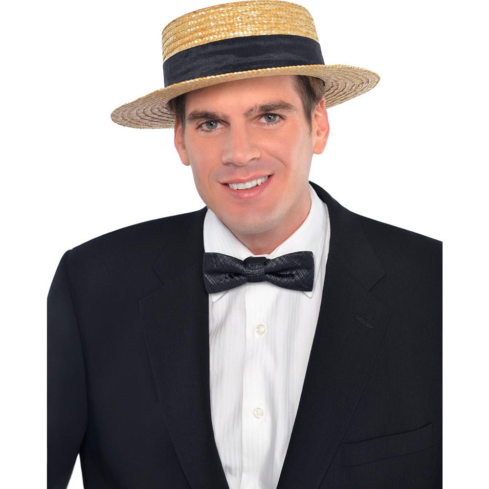 ... Nav Item for Roaring  20s Straw Skimmer Hat Image  2 c9275cb8585