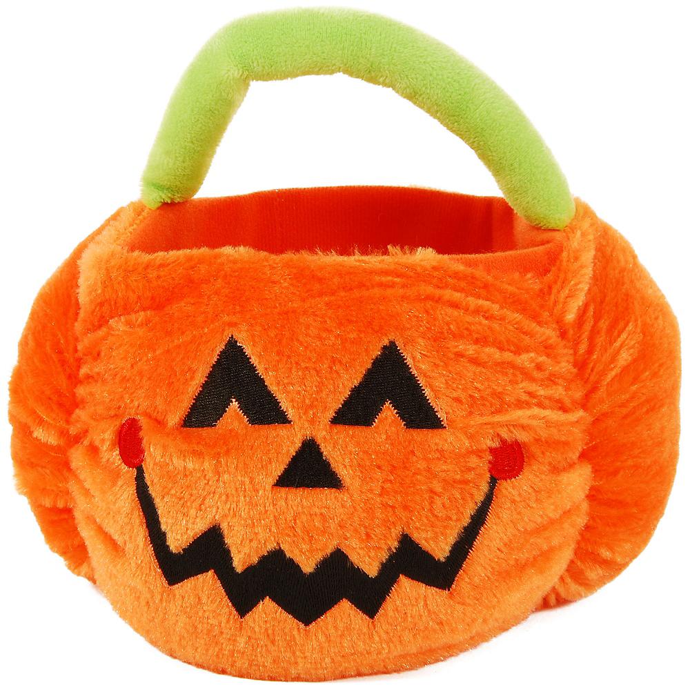 Plush Jack-o'-Lantern Treat Bucket Image #1
