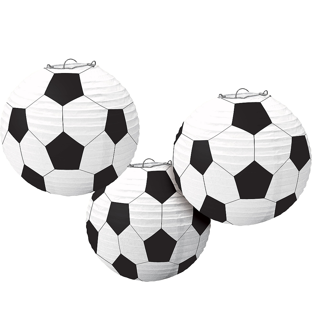 Nav Item for Soccer Paper Lanterns 3ct Image #1
