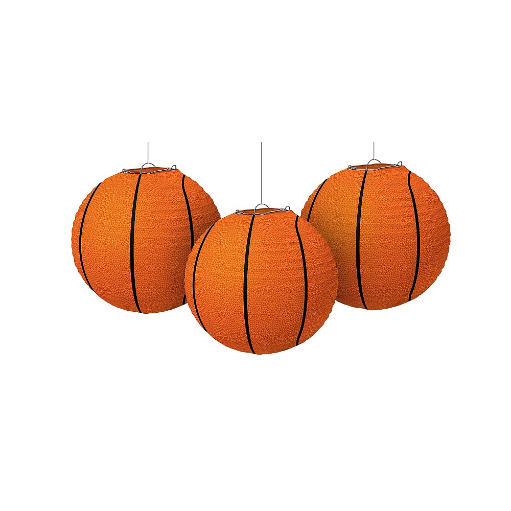 Basketball Paper Lanterns 3ct Image #1
