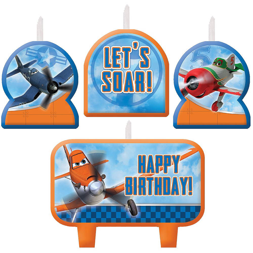 Planes Birthday Candles 4ct Image #1