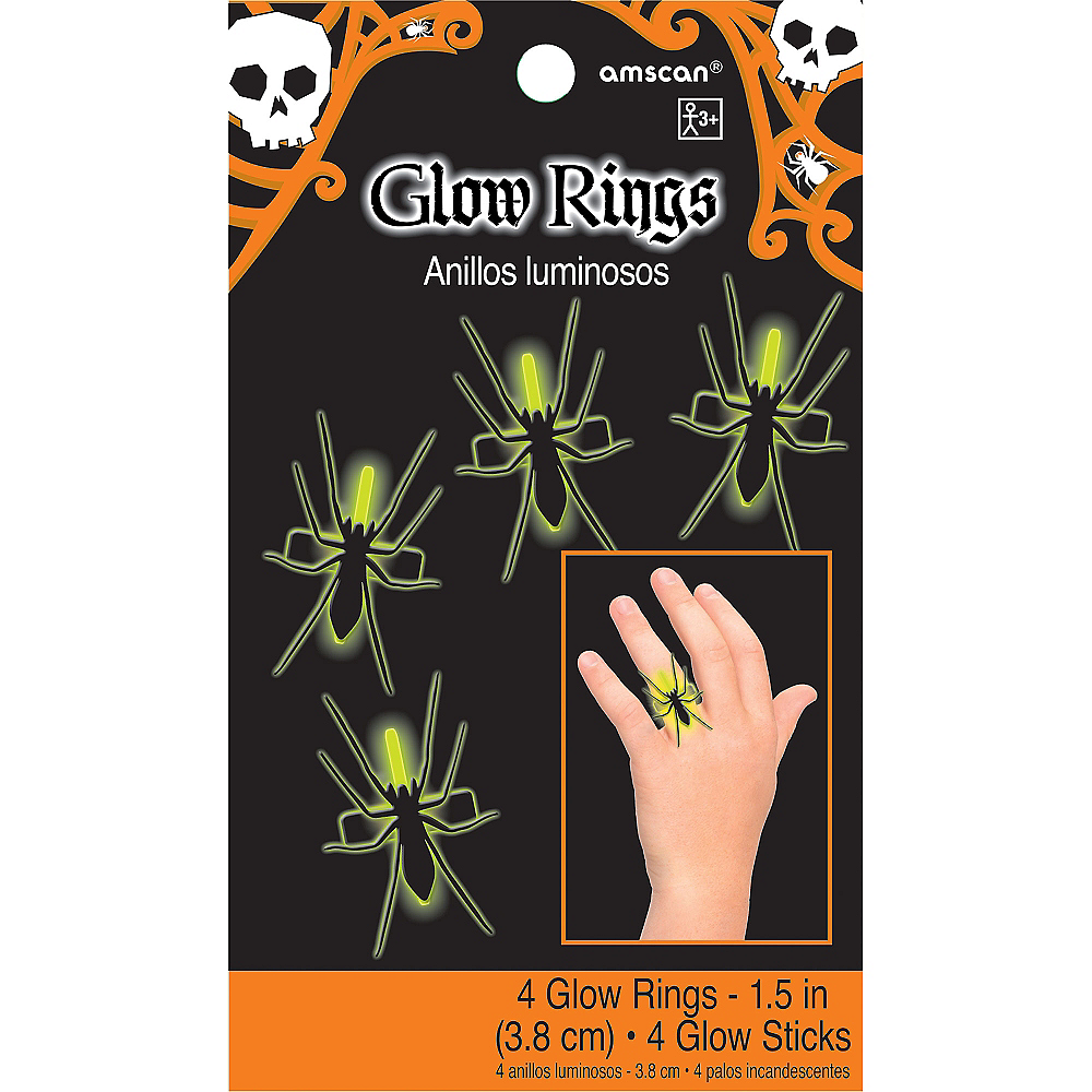 Glow Stick Spider Rings 4ct Image #3