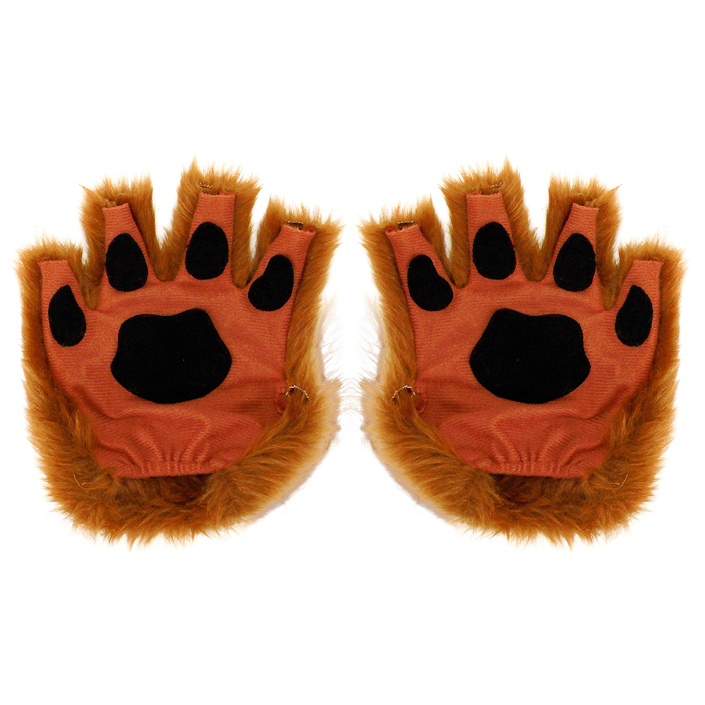 Brown Paw Fingerless Gloves Image #1