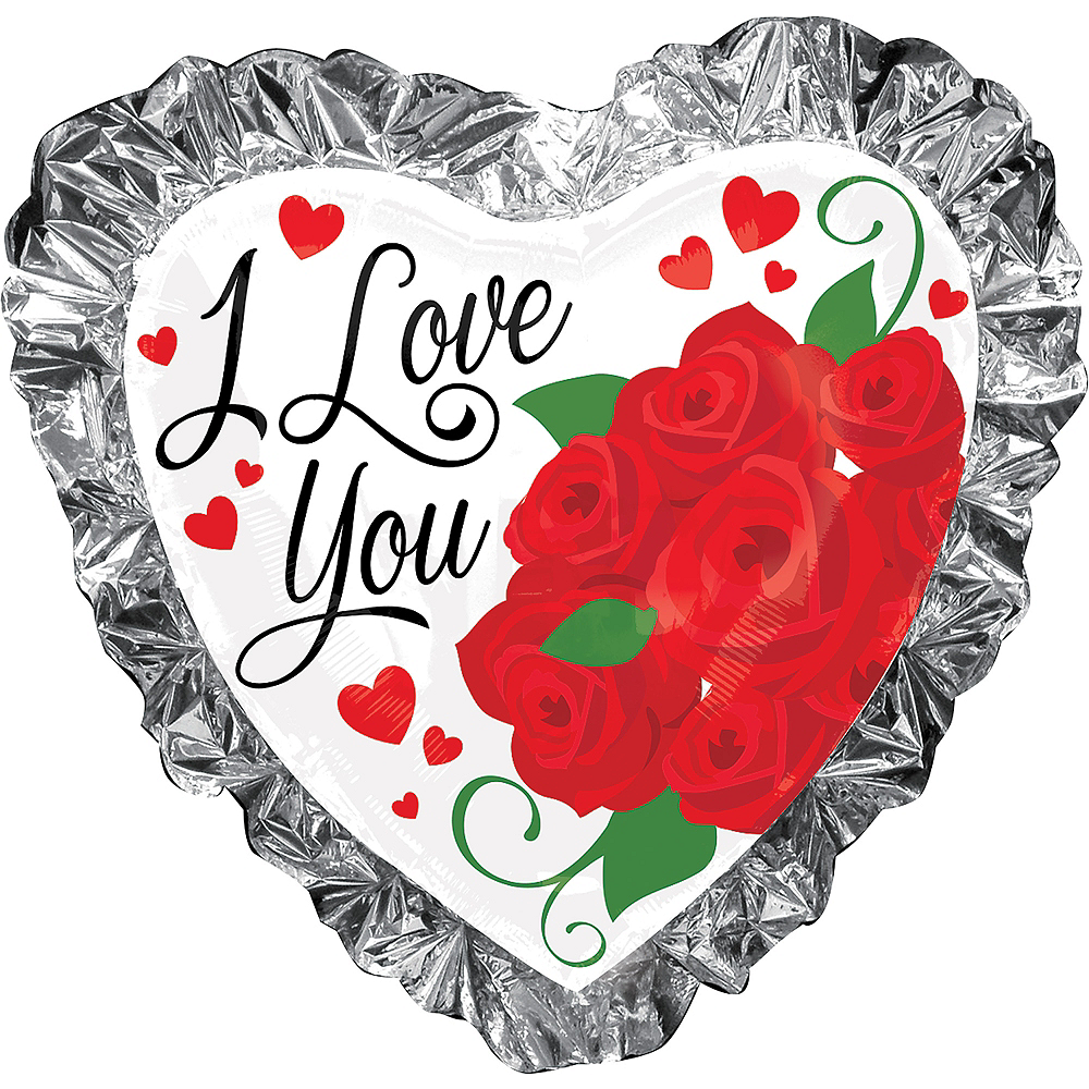 Foil Ruffle I Love You Heart Balloon, 28in Image #1