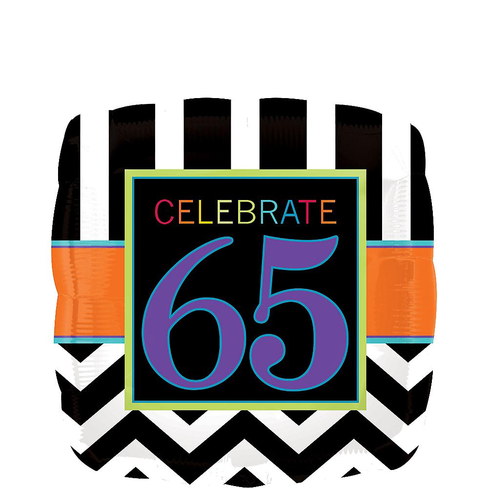 Square Chevron 65th Birthday Balloon 17in