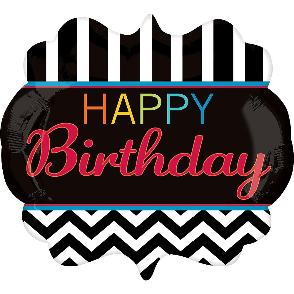 Happy Birthday Balloon - Giant Chevron, 25in Image #1