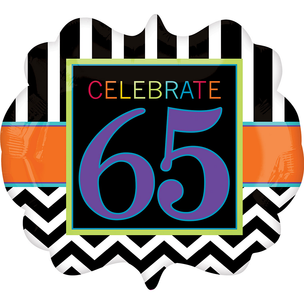 Giant Chevron 65th Birthday Balloon 25in x 22in, 25in Image #1