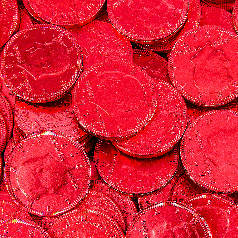 Red Chocolate Coins 72pc Image #2