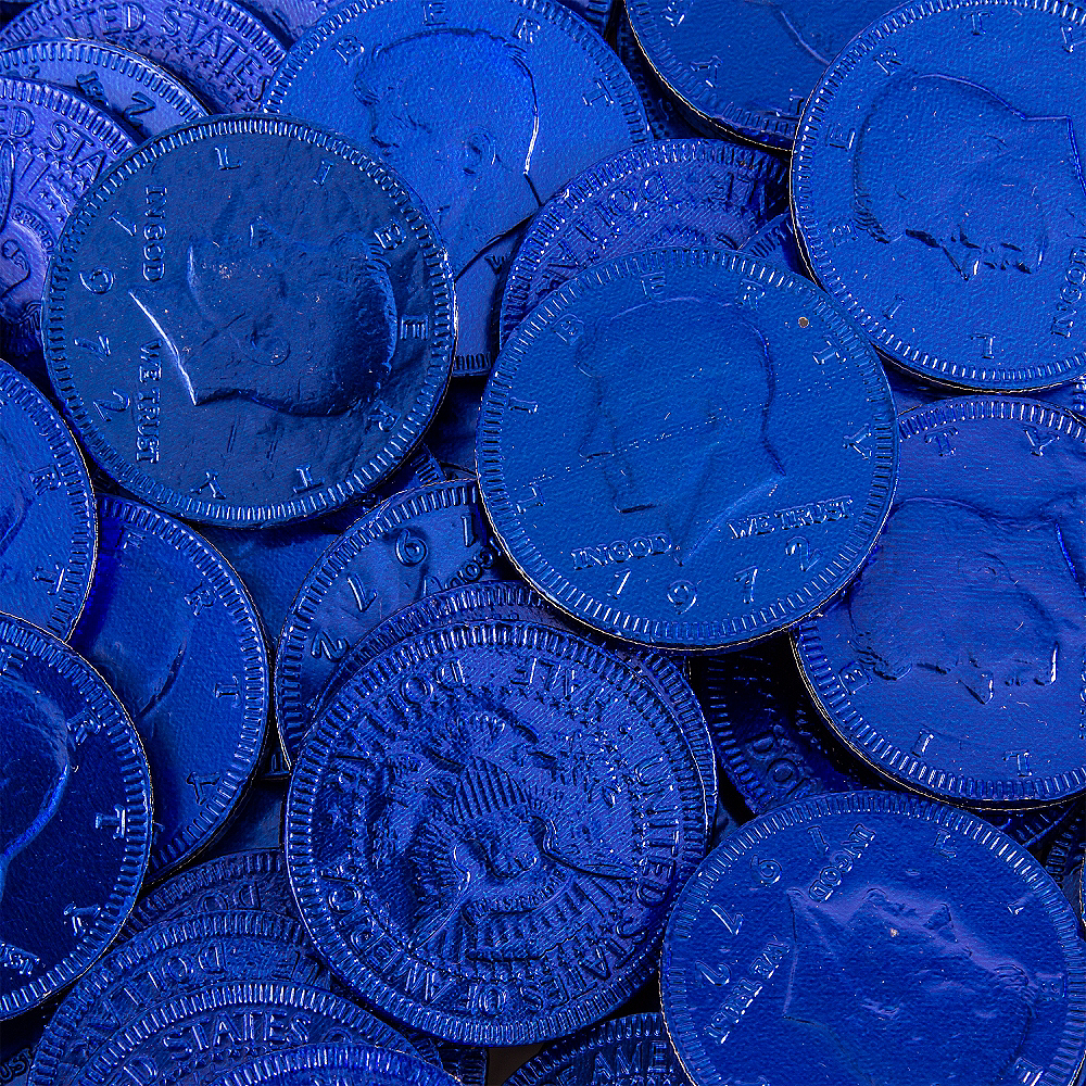 Royal Blue Chocolate Coins 72pc Image #2