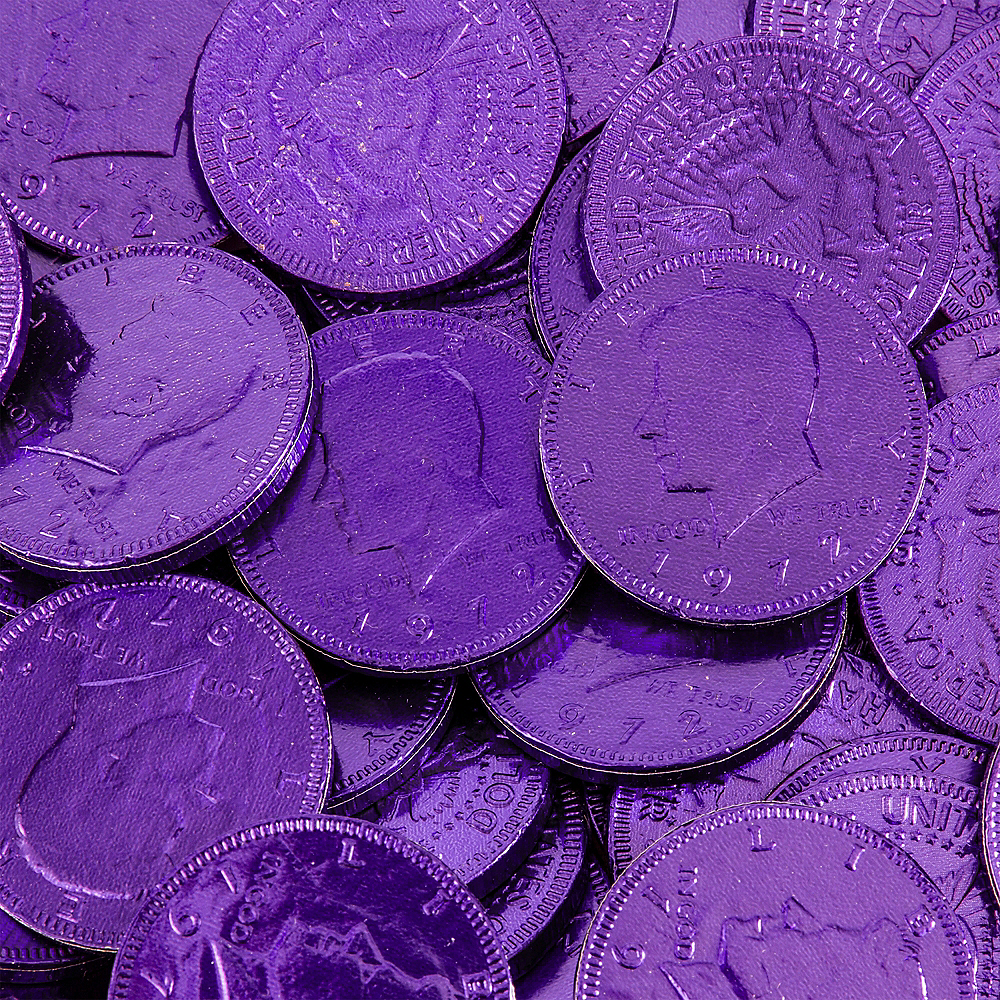 Purple Chocolate Coins 72pc Image #2