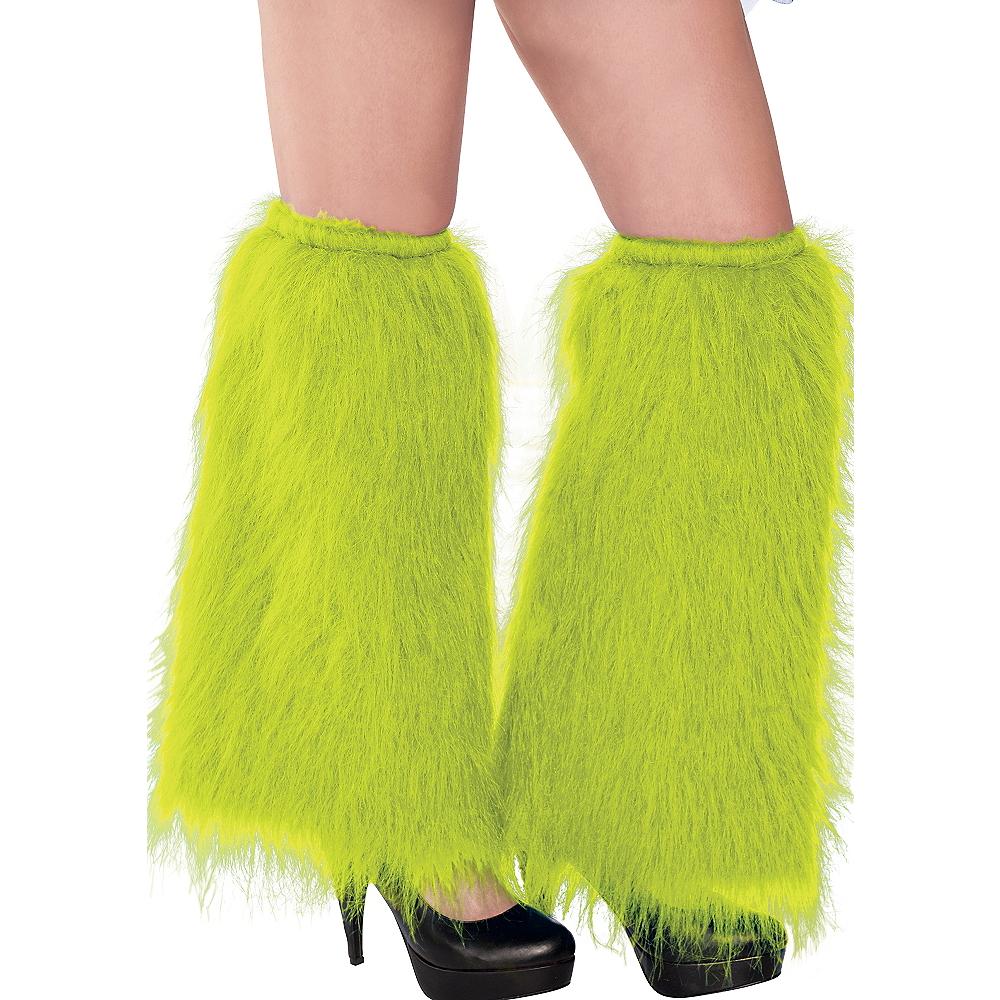 Black Light Neon Green Furry Leg Warmers Image #1