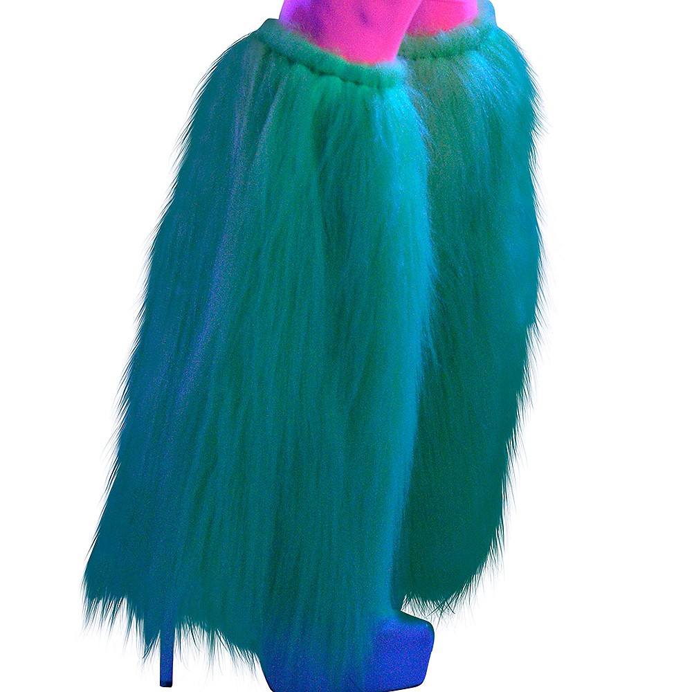 Black Light Neon Green Furry Leg Warmers Image #2
