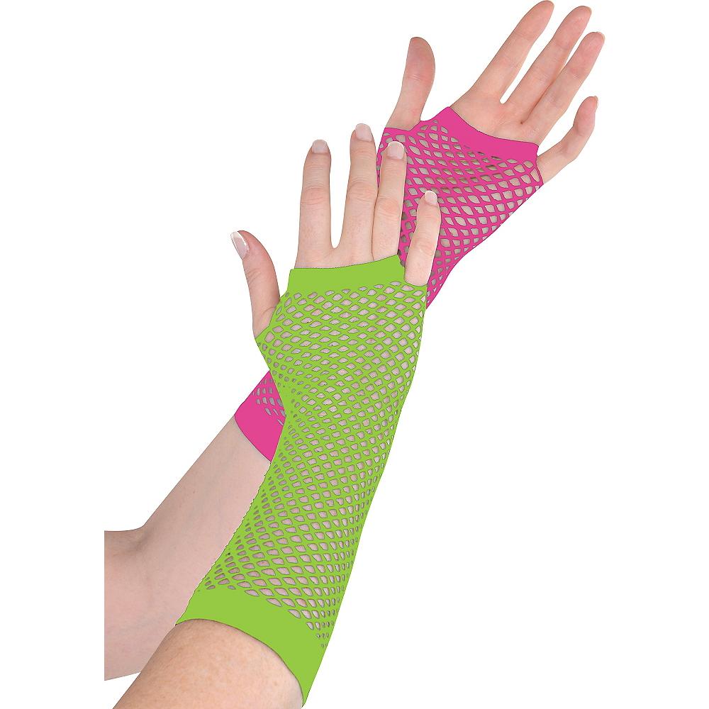 Long Black Light Neon Fishnet Gloves Deluxe Image #1