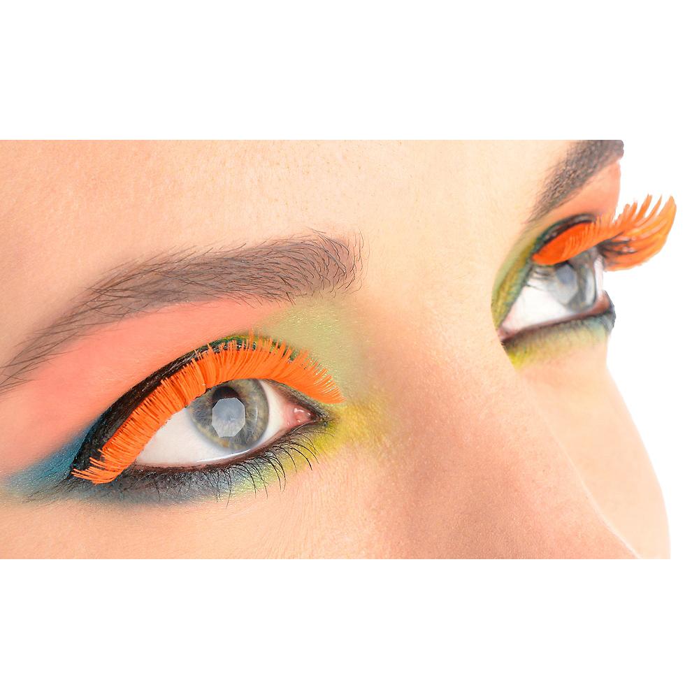 Self Adhesive Black Light Neon Orange Tinsel False Eyelashes Party