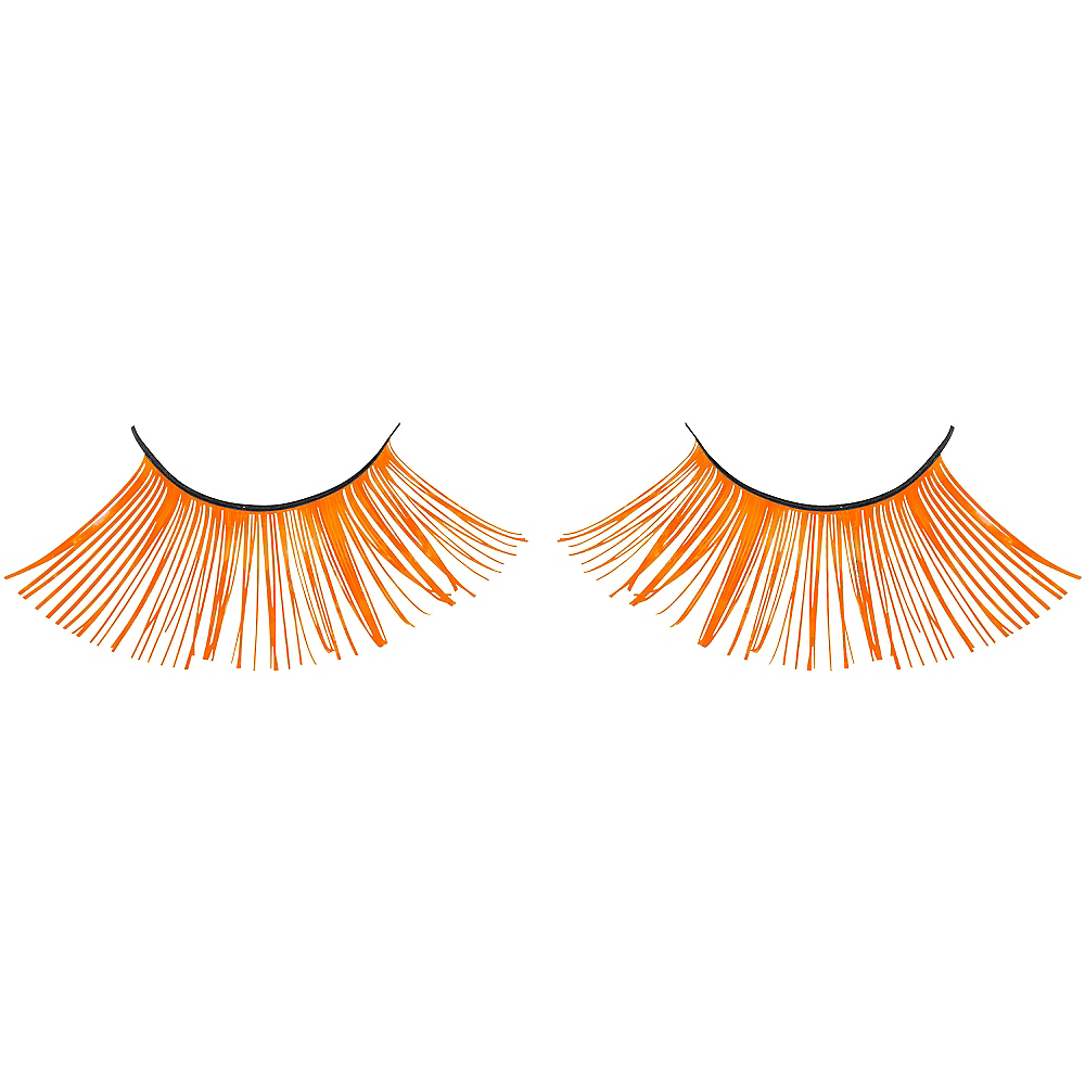 Self-Adhesive Black Light Neon Orange Tinsel False Eyelashes Image #2